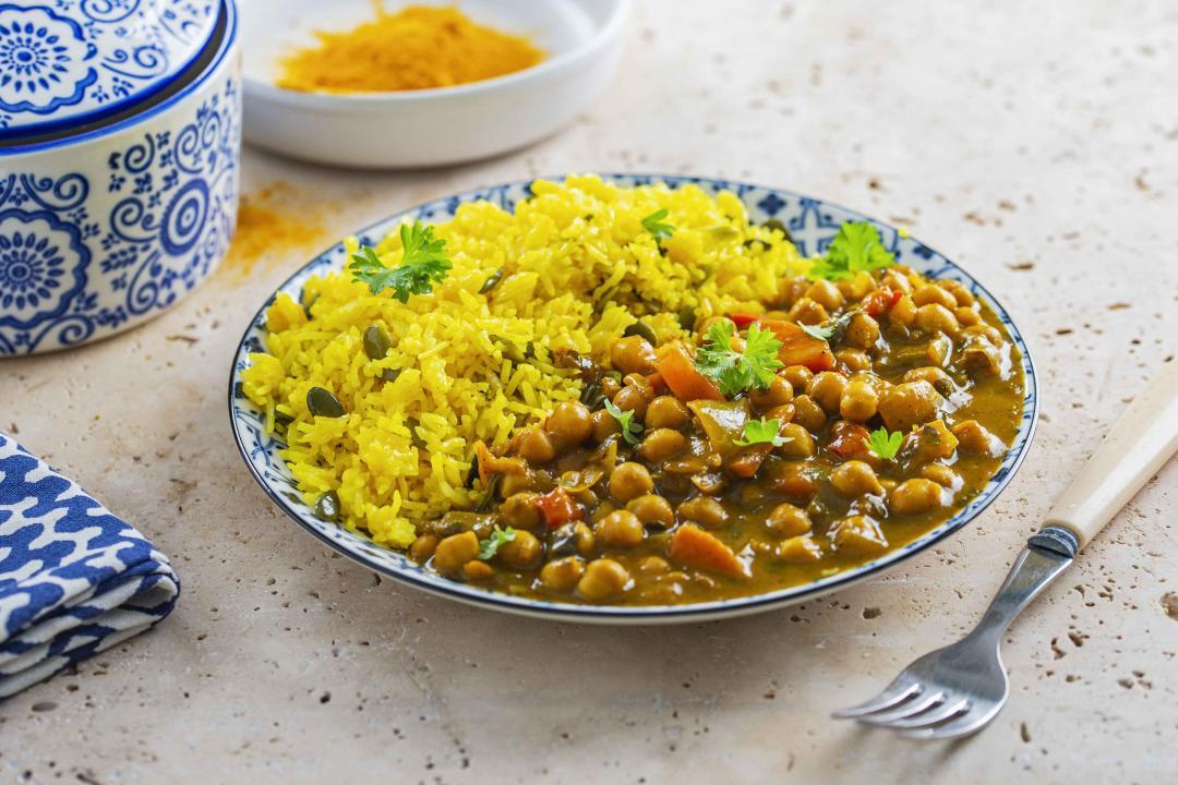 Naut Marocan cu Orez cu Seminte de Dovleac si Sofran