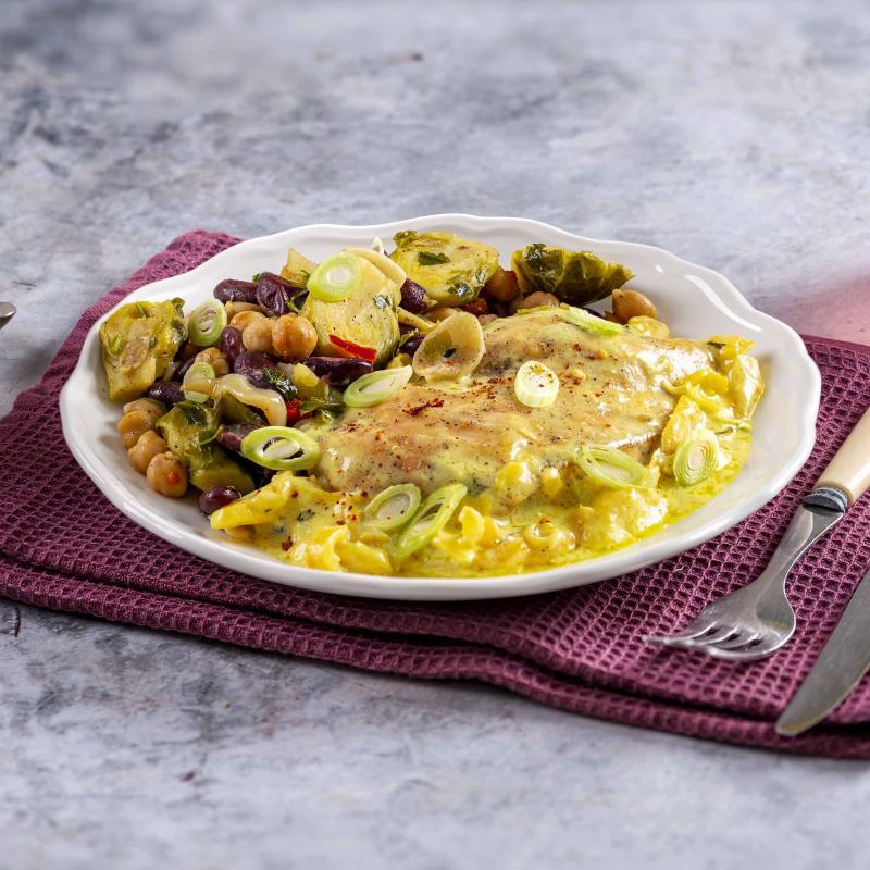 Lemon Chicken cu Mix de Naut, Fasole si Varza de Bruxelles