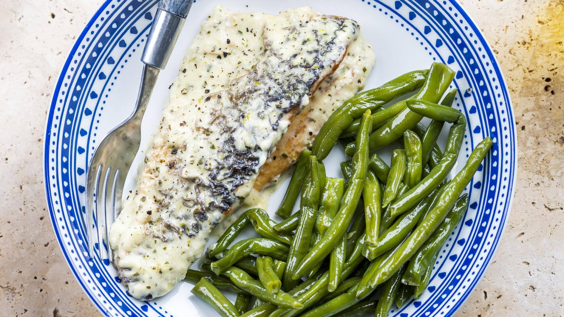 Sea bass with Lemon Parmesan Cream Sauce & Sote de Fasole Verde 1