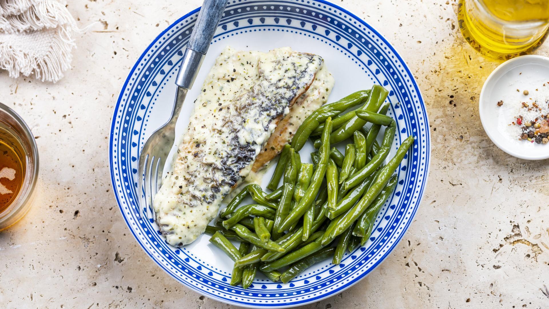 Sea bass with Lemon Parmesan Cream Sauce & Sote de Fasole Verde 2